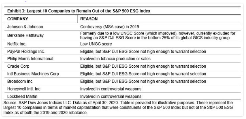 Exhibit 3: Largest 10 Companies to Remain Out of the S&P 500 ESG Index