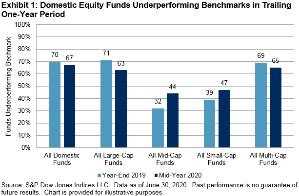 Domestic Equity Funds Underperforming Benchmarks in Trailing One-Year Period
